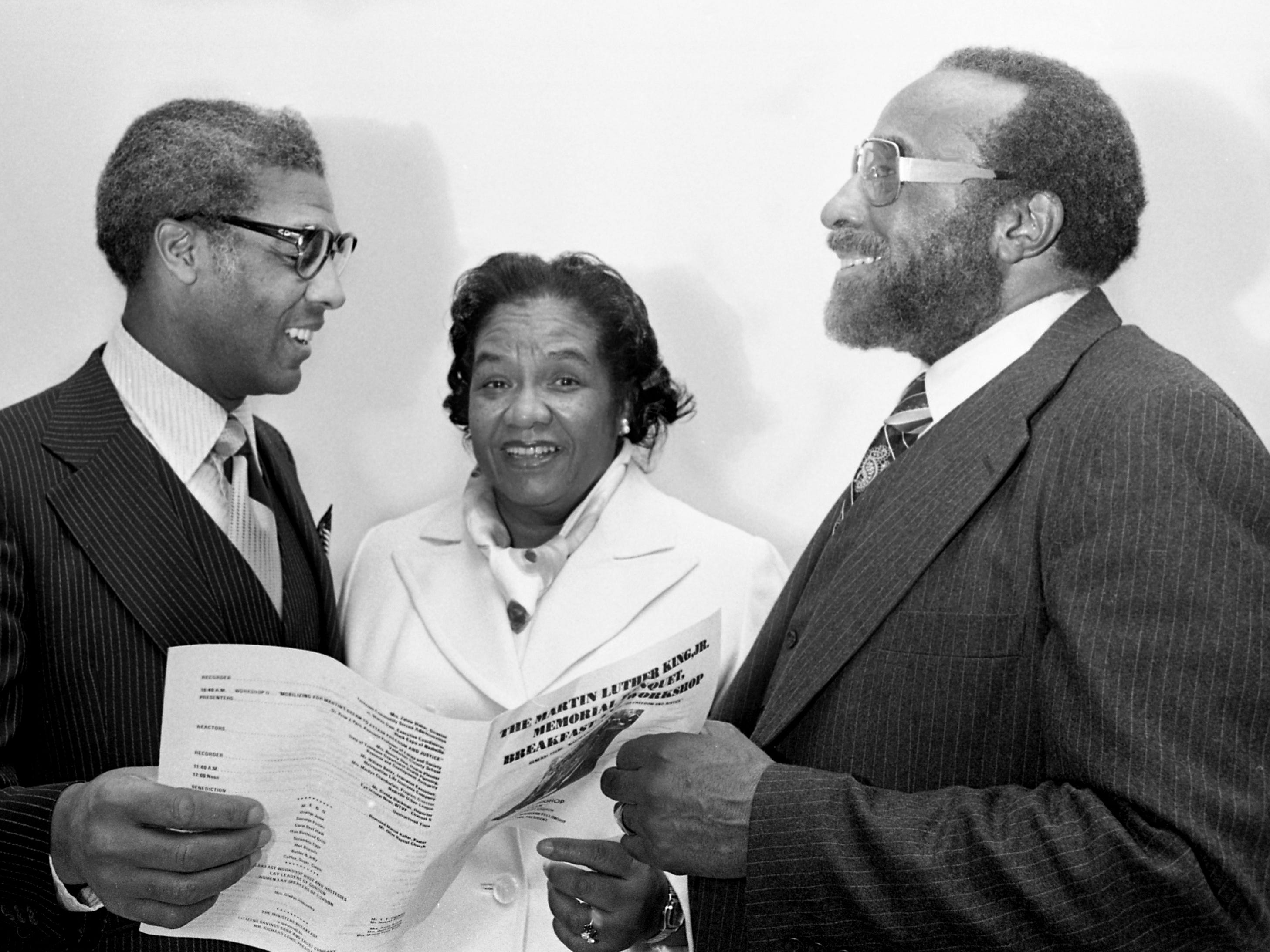 The Rev. Kelly Miller Smith, left, the keynote speaker, Dr. Dorothy Brown and the Rev. Dogan W. Williams, president of the Interdenominational Ministers Fellowship, share a moment during the Martin Luther King Jr. Memorial Awards Banquet on April 6, 1979, on the campus of Tennessee State University. Dr. Brown was the recipient of a human relations award from the IMF, which sponsored the banquet.