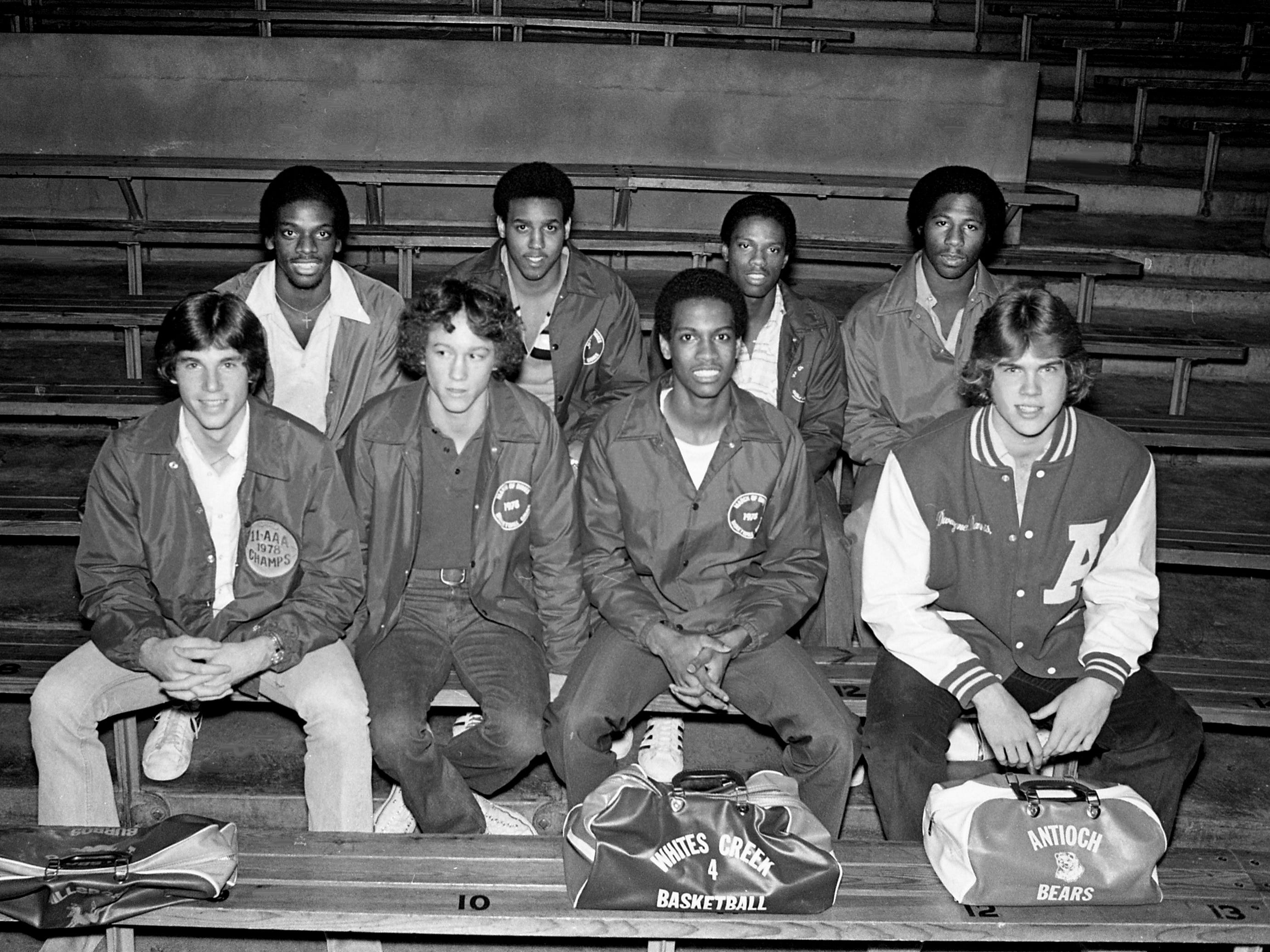 Vance Wheeler of Hillsboro High, front row left, Larry Breedlove of Bellevue High, Troy Hall of Whites Creek High and Dewayne Davis of Antioch High, Anthony Eubanks of Hillsboro High, back row left, Lenny Manning and William Reed of Maplewood High and James Drummond of Pearl High are posing for The Tennessean's 1979 All-NIL basketball team at Vanderbilt University's Memorial Gym on April 5, 1979.