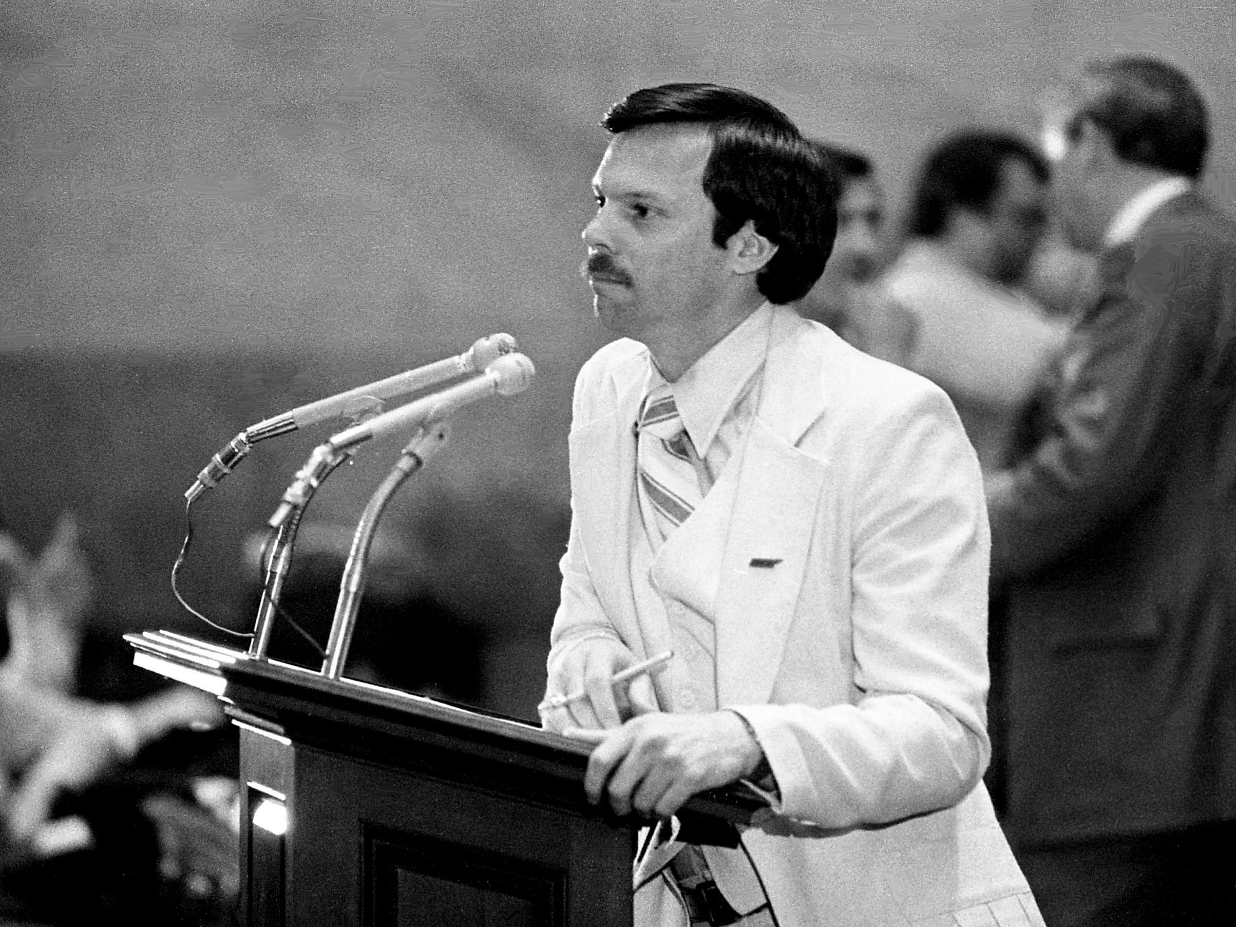 Rep. Donald Hood, D-Kingsport, is arguing for his legislation to replace the state's electric chair with a lethal injection of drugs in death penalty cases before members at the state Capitol on April 11, 1979.