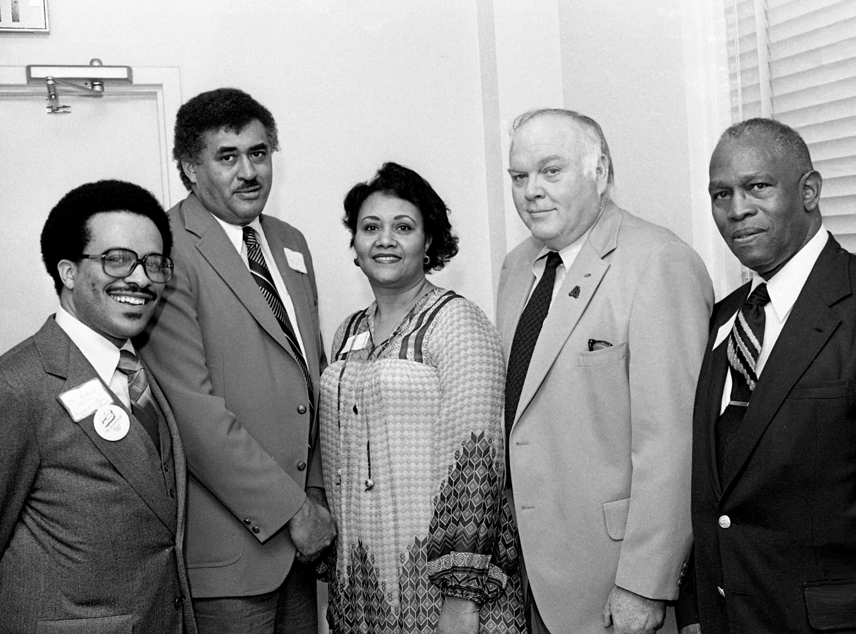 Richard Lewis, left, president of the Citizen's Saving Bank and Trust Co., the oldest minority-owned bank in the state and the second oldest in the nation, is flanked by Tennessee State University President Frederick S. Humphries; Mary Alice Ridley, TSU Nashville alumni chapter president; House Speaker Ned McWherter; and Rep. C.B. Robinson, D-Chattanooga, head of the legislative black caucus, during a reception sponsored by the bank and the TSU alumni chapter for legislators April 2, 1979.