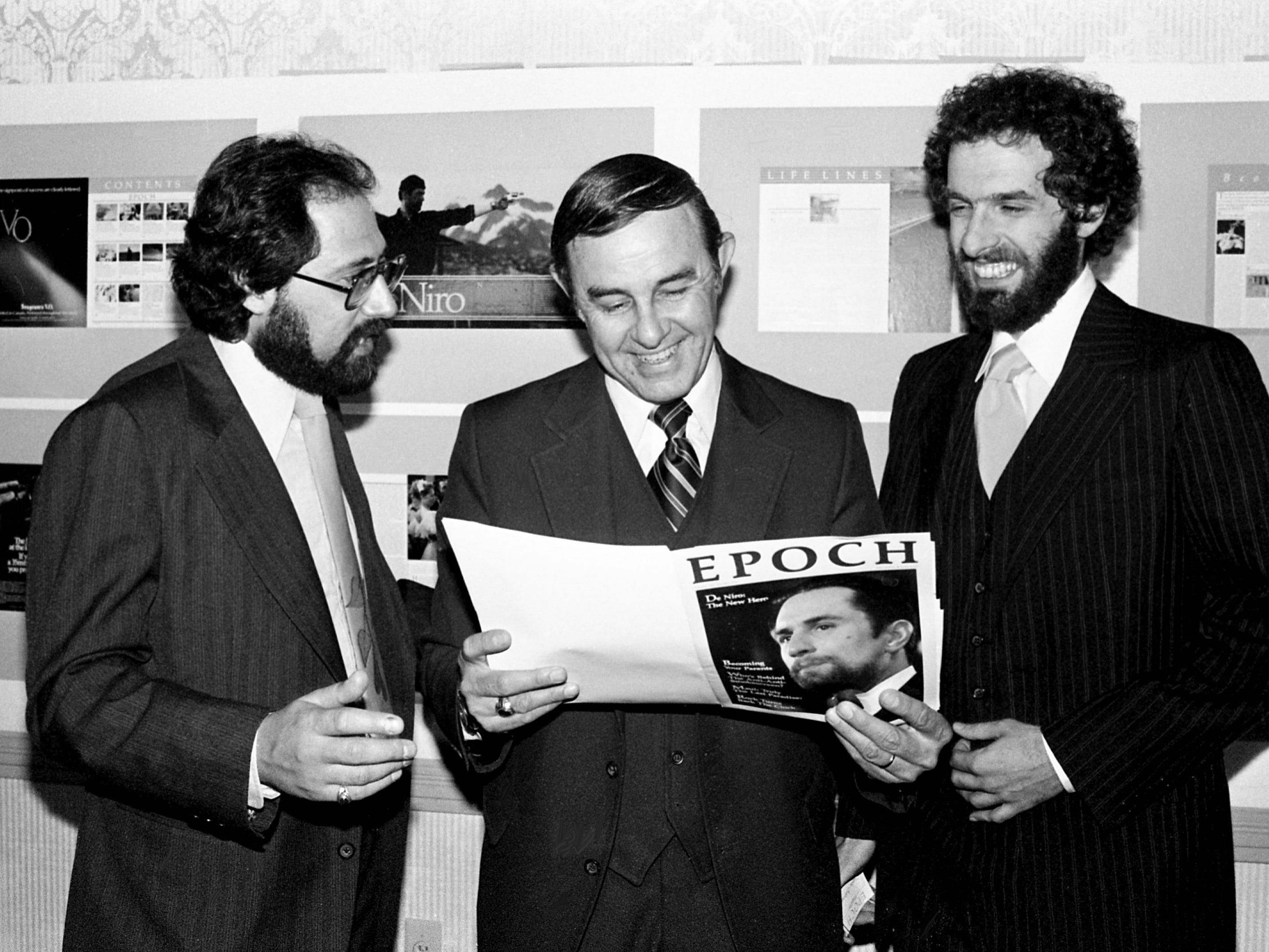 Proudly displaying the cover of the new Nashville-based Epoch magazine April 11, 1979, at the Richland Country Club are its editor, Paul Lambert, left, Jack Shockley of Shockley Research Inc., and founder Charles Biderman. Aimed at the 30-year-old generation, the publication will debut a test issue in June.