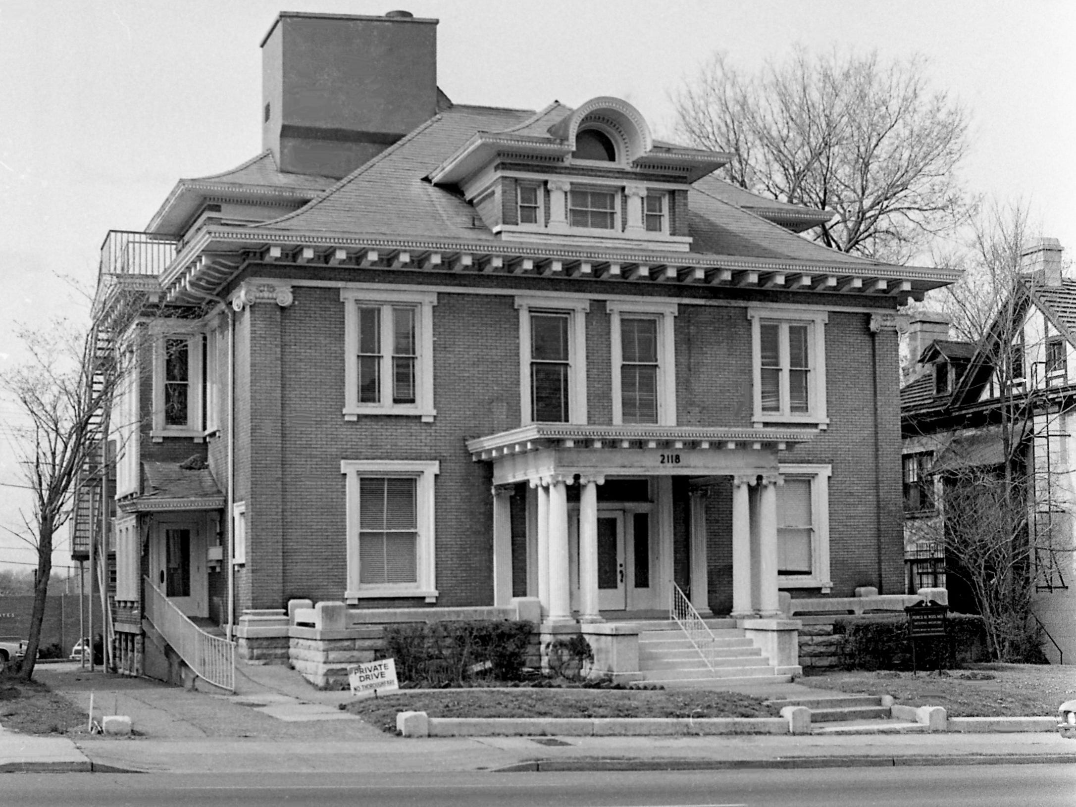 This building, located here at 2118 West End Ave. on April 2, 1979, served as the Governor's Mansion for 27 years, starting in 1923. The building may be torn down and a Popeye's Fried Chicken outlet built in its place after being recently purchased by James E. Rice.