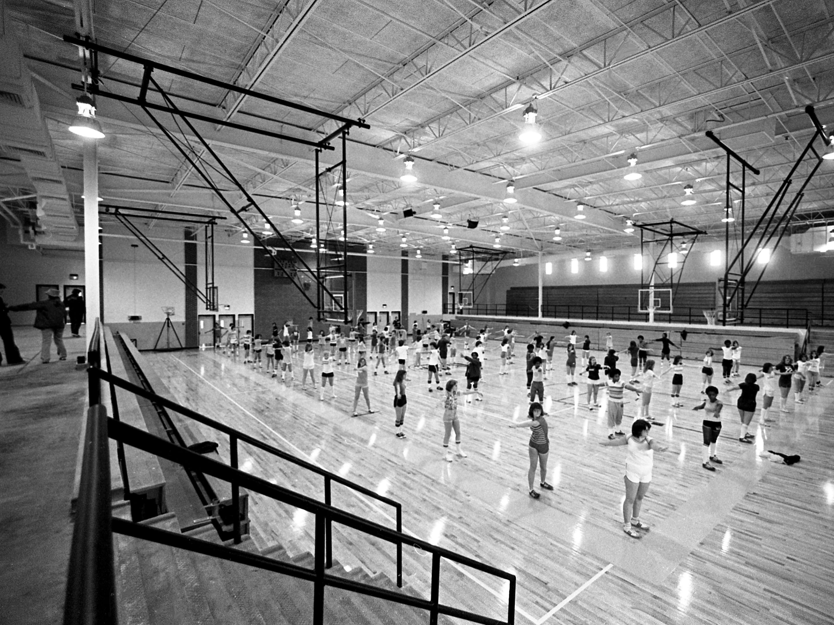 Some of the Mt. Juliet High School students are exercising in their newly opened gymnasium April 5, 1979. It replaced the old gym that was destroyed by a fire in February 1977.