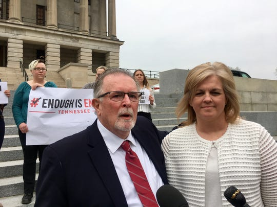 Christi Rice, right, was joined on the Capitol steps Thursday, April 4, 2019, by David Brown, a Republican in the Hardin County portion of Rep. David Byrd's district. Rice has accused Byrd of sexually assaulting her in the 1980s.