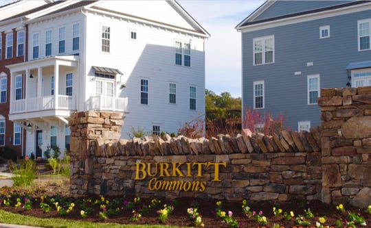 Regent Homes' new Burkitt Ridge community will feature a variety of housing styles, including townhomes similar to these in the nearby Burkitt Commons neighborhood.
