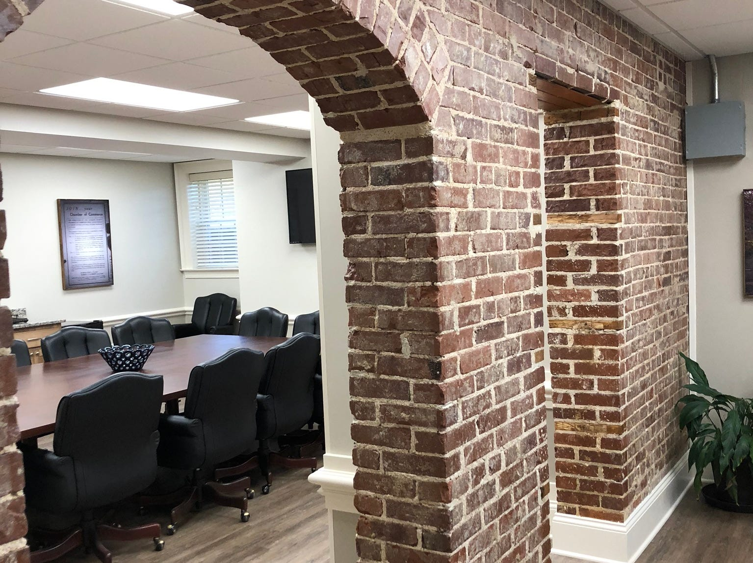 The Dickson County Chamber of Commerce staff is now located in new offices in the back, bottom floor of the War Memorial Building in Downtown Dickson. The downstairs was renovated for the move.