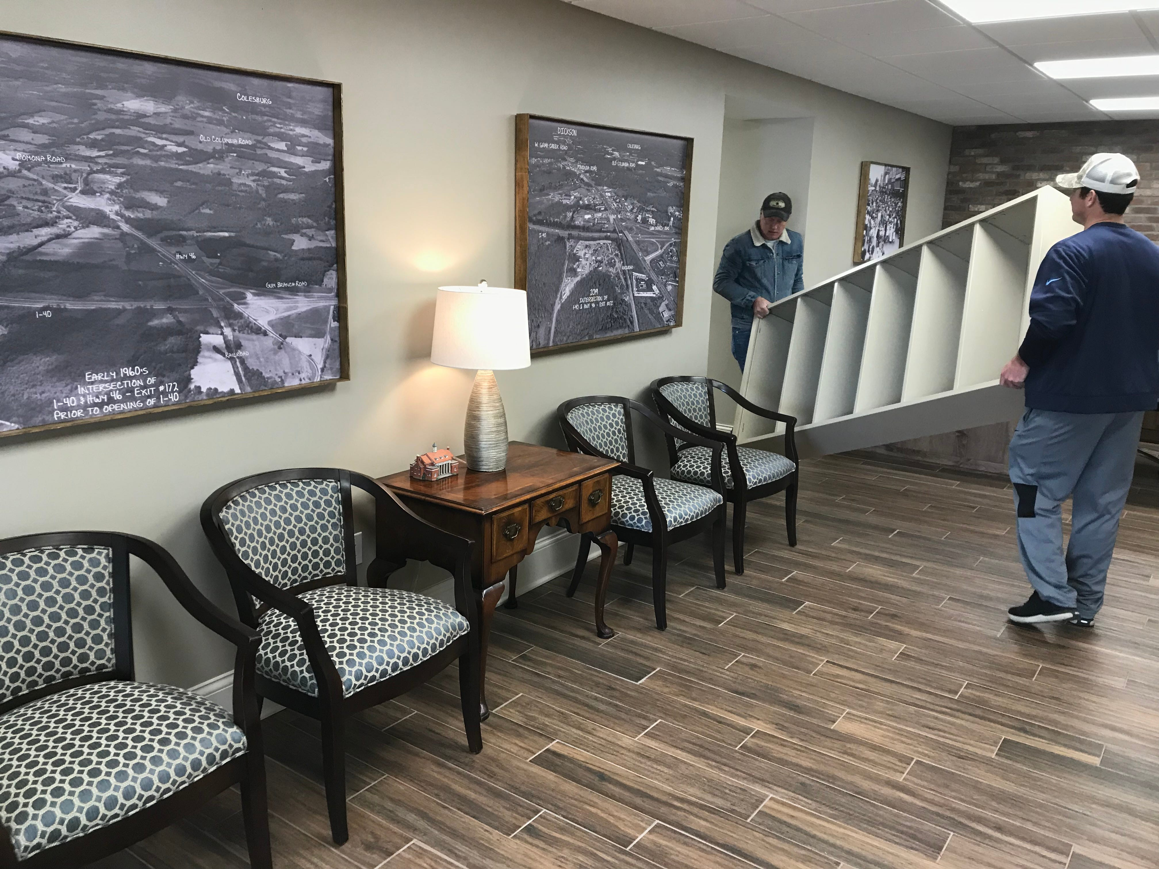 The Dickson County Chamber of Commerce staff is moved into the Chamber's new offices in the back, bottom floor of the War Memorial Building in Downtown Dickson. The downstairs was renovated for the move.