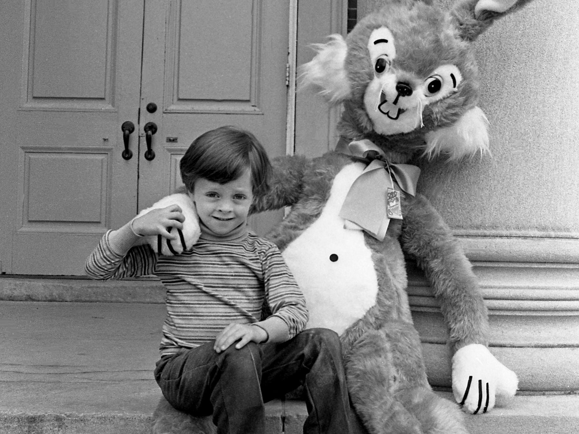 Richard Nord, 5, son of Charles D. Nord, is hanging out with a 6-foot-tall stuffed rabbit in front of the University School of Nashville in April 10, 1979. The stuffed rabbit will be one of the prizes in the country fair at the school on April 26-27.