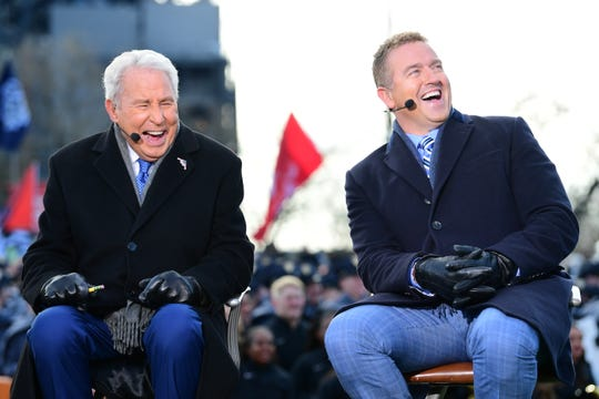 Lee Corso and Kirk Herbstreit on the set of College GameDay Built by the Home Depot in Philadelphia, Pa., on December 8, 2018 (Photo by Scott Clarke / ESPN Images)