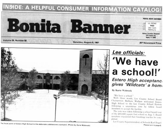 The Bonita Banner celebrates the official opening of the Estero High School, which stopped Bonita Springs students from daily trips to Fort Myers high schools.