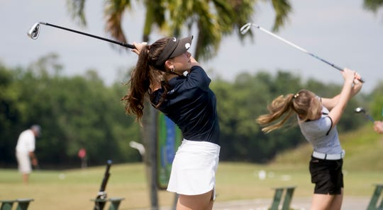 Talia Rodino, a freshman golfer at Bishop Verot in Fort Myers practices at Stoneybrook Golf Club in Estero on Wednesday. She is heading to Augusta National Golf Club, site of the Masters, to compete in the Drive, Chip and Putt Finals on Sunday.
