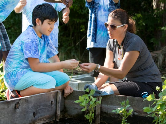 """Volunteer """"Garden Mom"""" Melissa Rocchio discusses plants with fifth grader Jake Waltbillig, 11, in the garden at Naples' Sea Gate Elementary School on April 27, 2016, after the ribbon-cutting ceremony celebrating the school being Blue Zones- approved."""