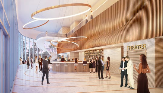 Rendering of the lobby for the new Gulfshore Playhouse.