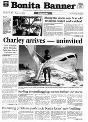 Hurricane Charley becomes the focus of the Bonita Springs Banner in August 2004.