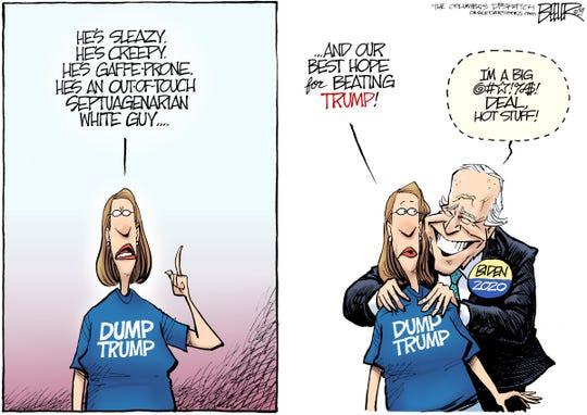 Biden grabbing shoulders