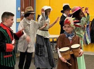 """The cast of the western musical comedy, """"What's Up, Doc?"""" from Hullabaloo Performing Arts Theatre performing at the downtown Newark Library. The show will run at the theater in Indian Mound Mall from April 5 through April 13 at 7 p.m. and April 7 and 14 at 2 p.m."""