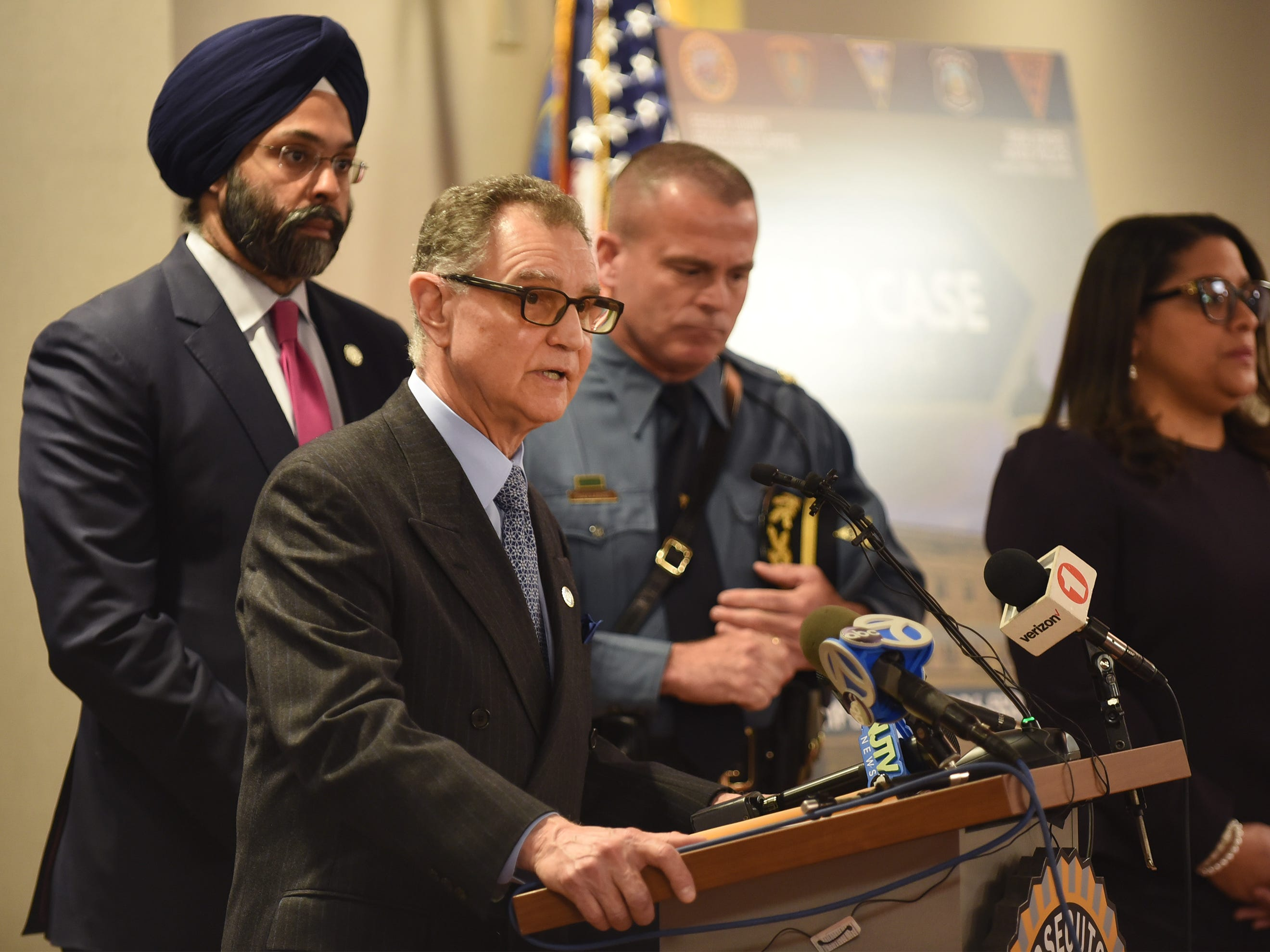 Dennis Calo, Acting Bergen County Prosecutor, speaks to the media during a press conference to announce the expansion of the Bergen County Cold Case Homicide Unit at Bergen County Plaza in Hackensack on 4/4/19.