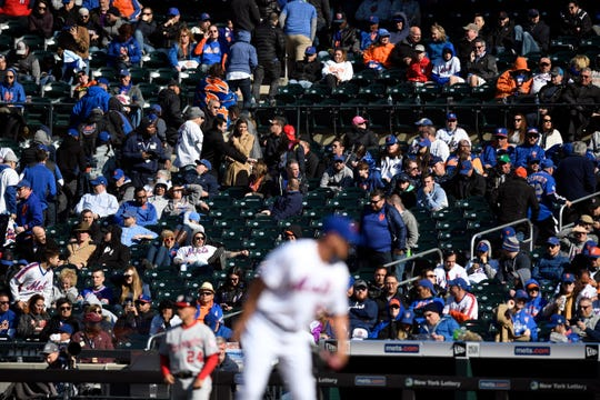 The fans leave in the eighth inning as the New York Mets llose their home opener against the Washington Nationals, 4-0, on Thursday, April 4, 2019, in Flushing, NY.