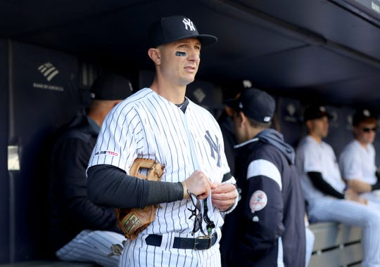 Troy Tulowitzki (12) of the New York Yankees stands in the dugout before the game against the Detroit Tigers at Yankee Stadium on April 03, 2019 in the Bronx borough of New York City.