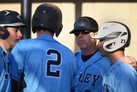 Wayne Valley baseball coach Jeff Hoover during a game between West Milford at Wayne Valley in Wayne on Wednesday April 3, 2019.