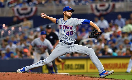 New York Mets' Jacob deGrom pitches against the Miami Marlins during the sixth inning of a baseball game Wednesday, April 3, 2019, in Miami. (AP Photo/Jim Rassol)