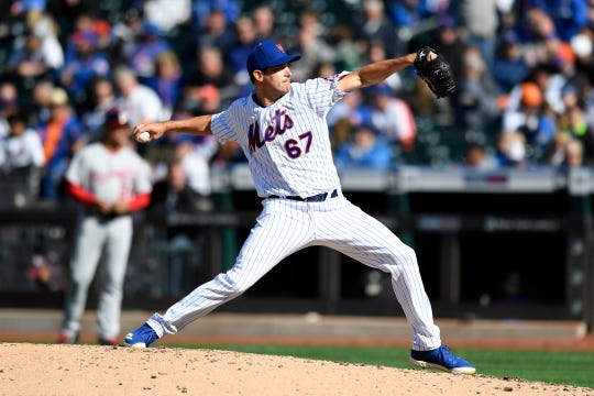 New York Mets pitcher Seth Lugo (67). The New York Mets lose their home opener against the Washington Nationals, 4-0, on Thursday, April 4, 2019, in Flushing, NY.