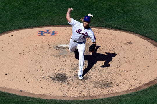 New York Mets pitcher Noah Syndergaard (34) in the fifth inning against the Washington Nationals. The Mets lose their home opener against the Nationals, 4-0, on Thursday, April 4, 2019, in Flushing, NY.