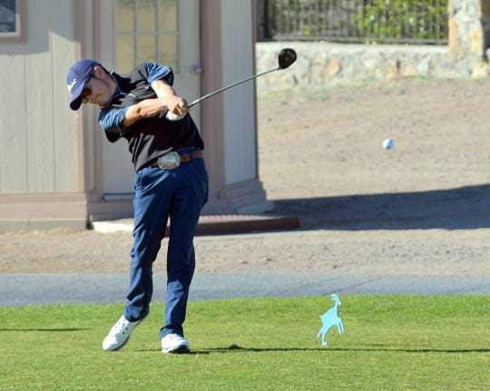 Senior Nemo Pereles tees off the No. 1 tee box at this year's Dona Ana Golf Invitational.