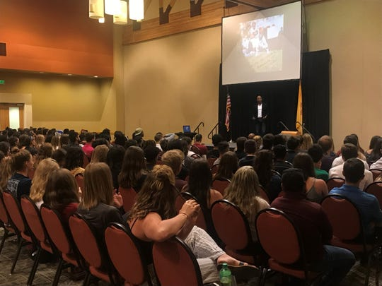 Former NFL player J.J. Birden spoke to more than 250 New Mexico State University athletes Wednesday, April 3.