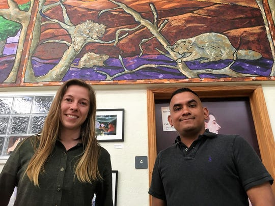 From left, field organizer Amanda Munro of the Southwest Environmental Center and community organizer Abraham Sanchez of NM CAFé, April 3, 2019.