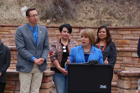 New Mexico Gov. Michelle Lujan Grisham talks outdoor recreation during the signing of a bill to create the State's Outdoor Recreation Division, April 1 at Hyde Memorial State Park.