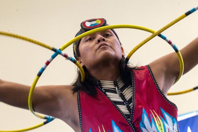 Joseph Secody performs a hoop dance on Oct. 9, 2017 during Indigenous Peoples Day celebrations at San Juan College in Farmington.