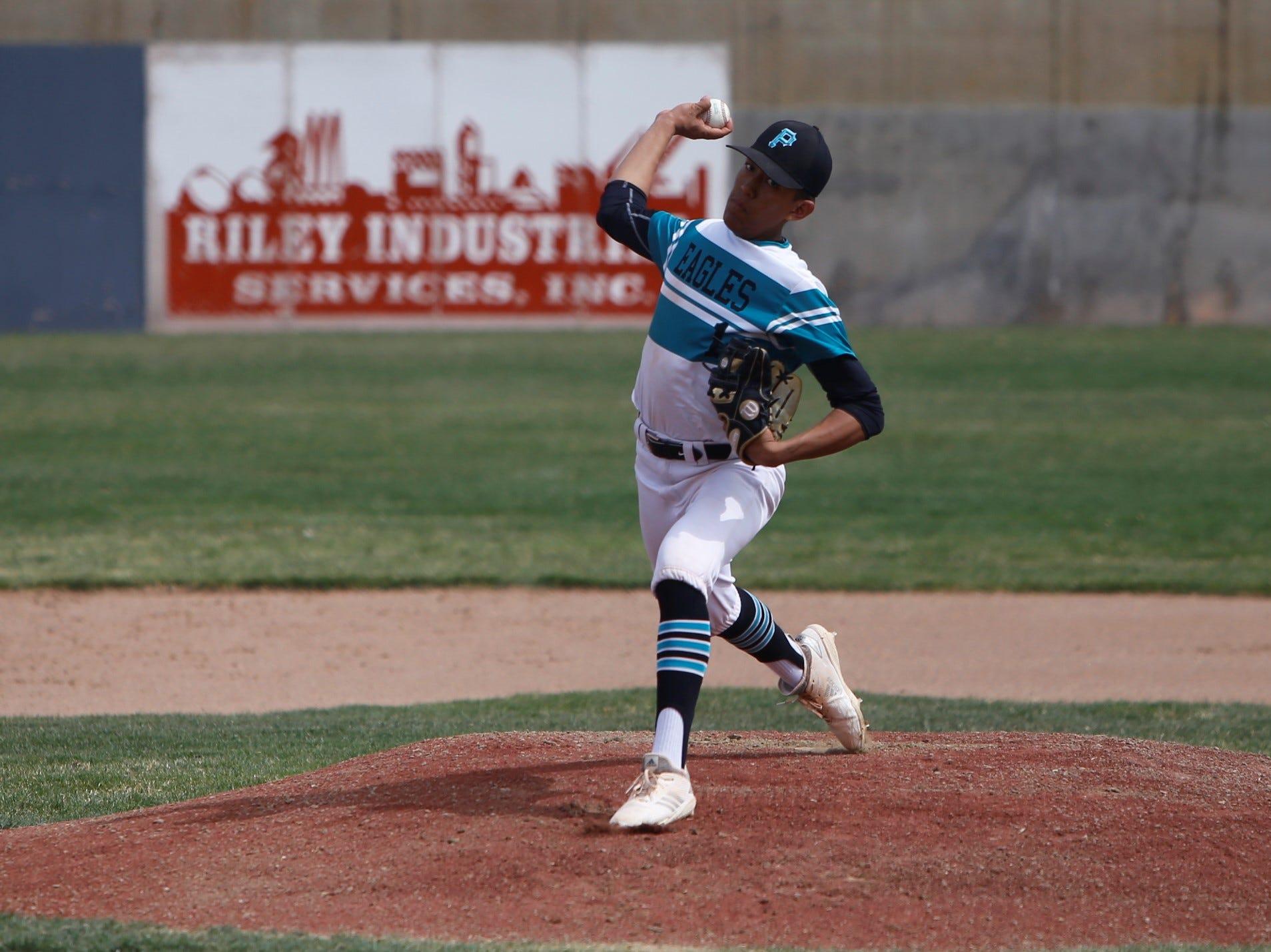 Navajo Prep's Marley Deschiney fires a pitch against Laguna Acoma during Thursday's game at Farmington Sports Complex.