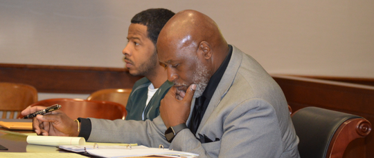 Robert Easley-Calloway appears in 16th District Court on Thursday, April 4, 2019, with his attorney Larry Polk.