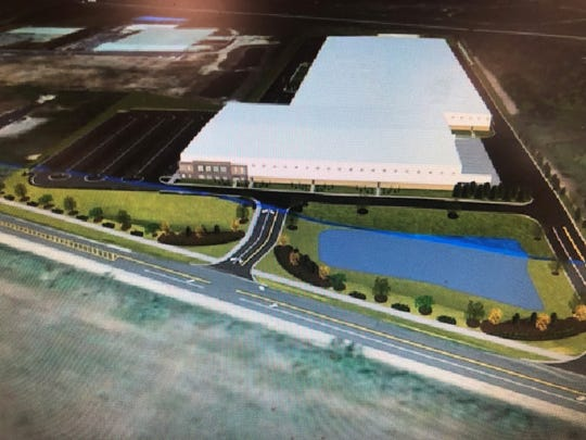 A rendering of the HANS Water and Power assembly plant, a 500,000 square foot facility planned for a 30 acre parcel adjacent to Grand River Avenue in Lyon Township.