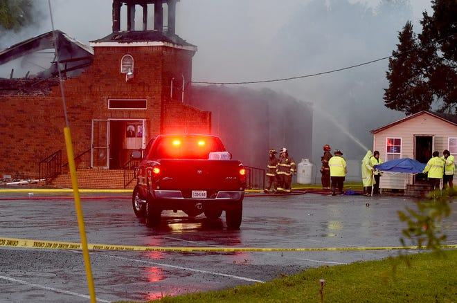 Mt. Pleasant Baptist Church completely destroyed by an early morning fire Thursday.