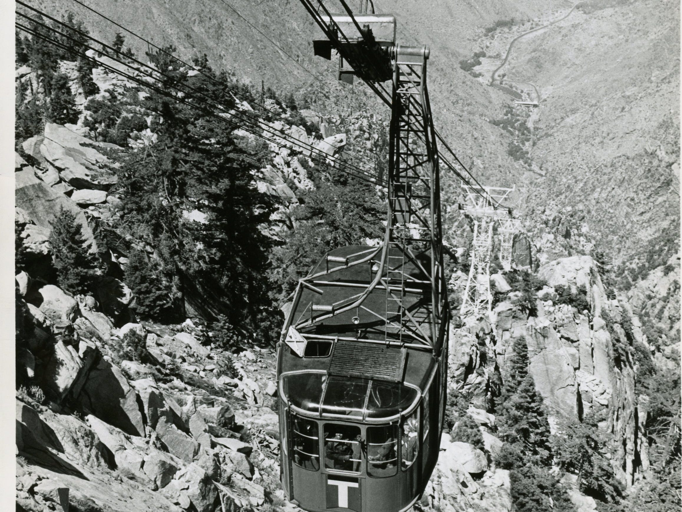 An early tram car makes its way up the mountain in this undated Palm Springs Aerial Tram photo.