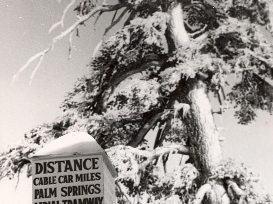 This undated photo shows a sign near the Palm Springs Aerial Tramway.