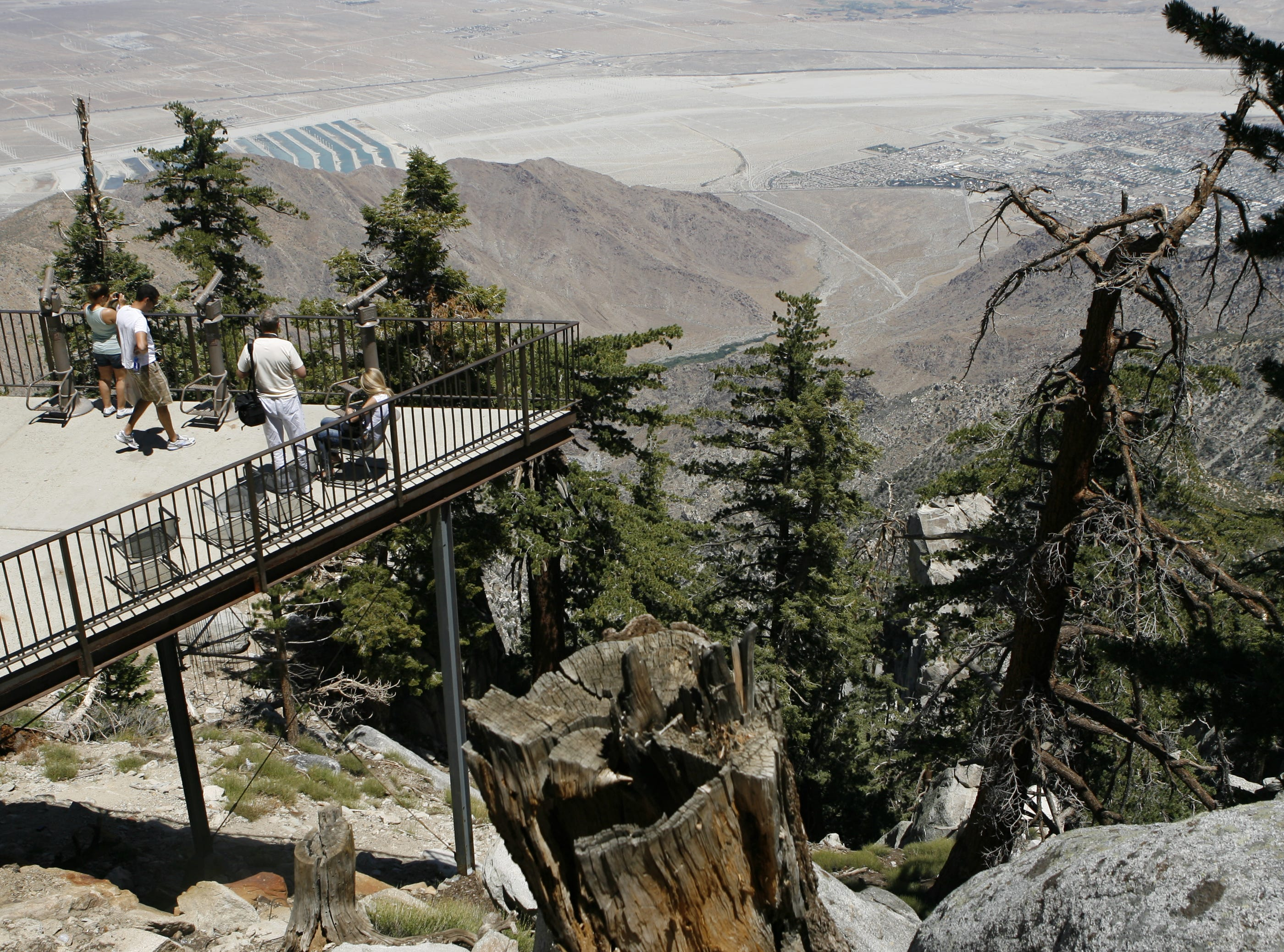 Palm Springs Aerial Tramway visitors see the Coachella Valley from the mountain station on Aug. 3, 2011.