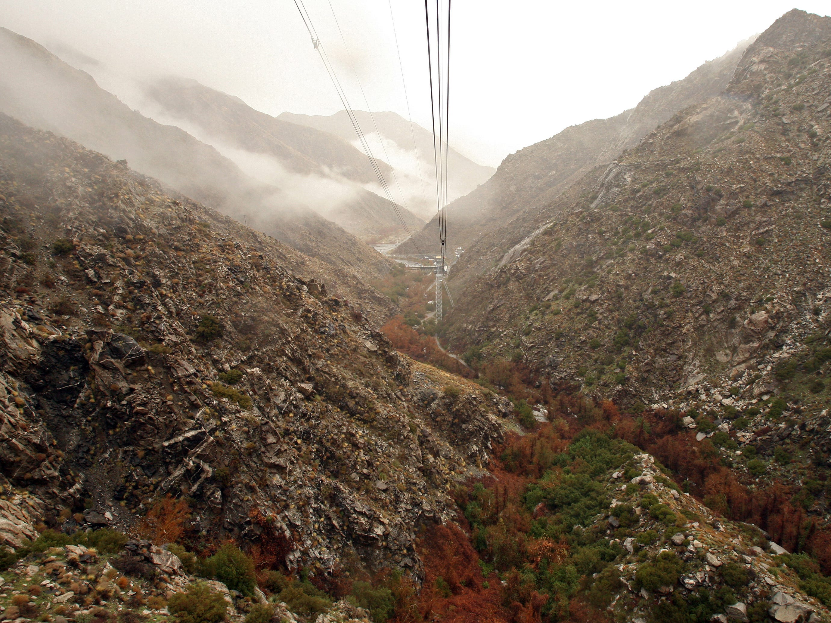 This December 2010 photo shows cables stretching from the Palm Springs Aerial Tramway's lower station.