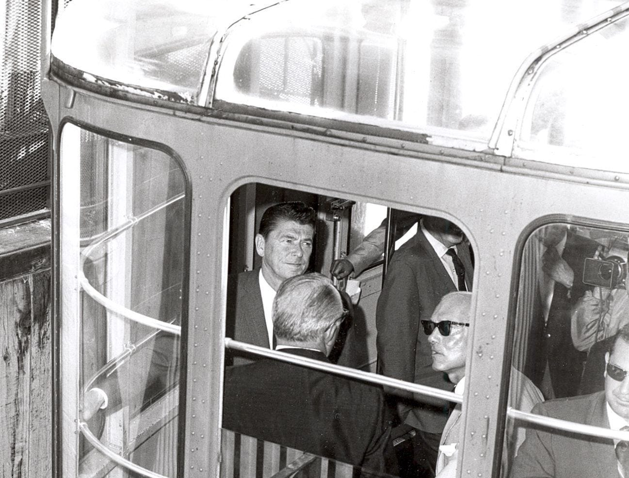 Then Governor Ronald Reagan takes a ride on the Palm Springs Aerial Tramway in this undated photo.