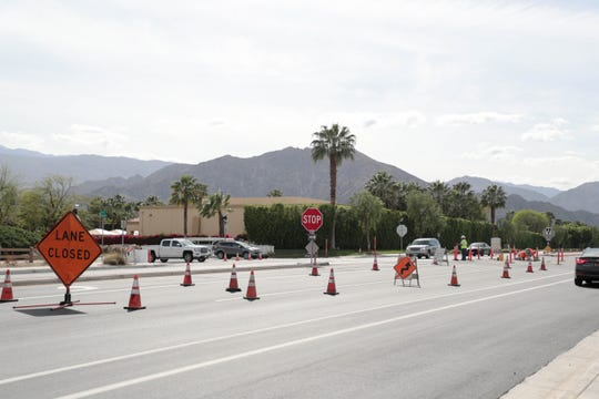 Road construction takes place in Indio, Calif. on April, 3, 2019.