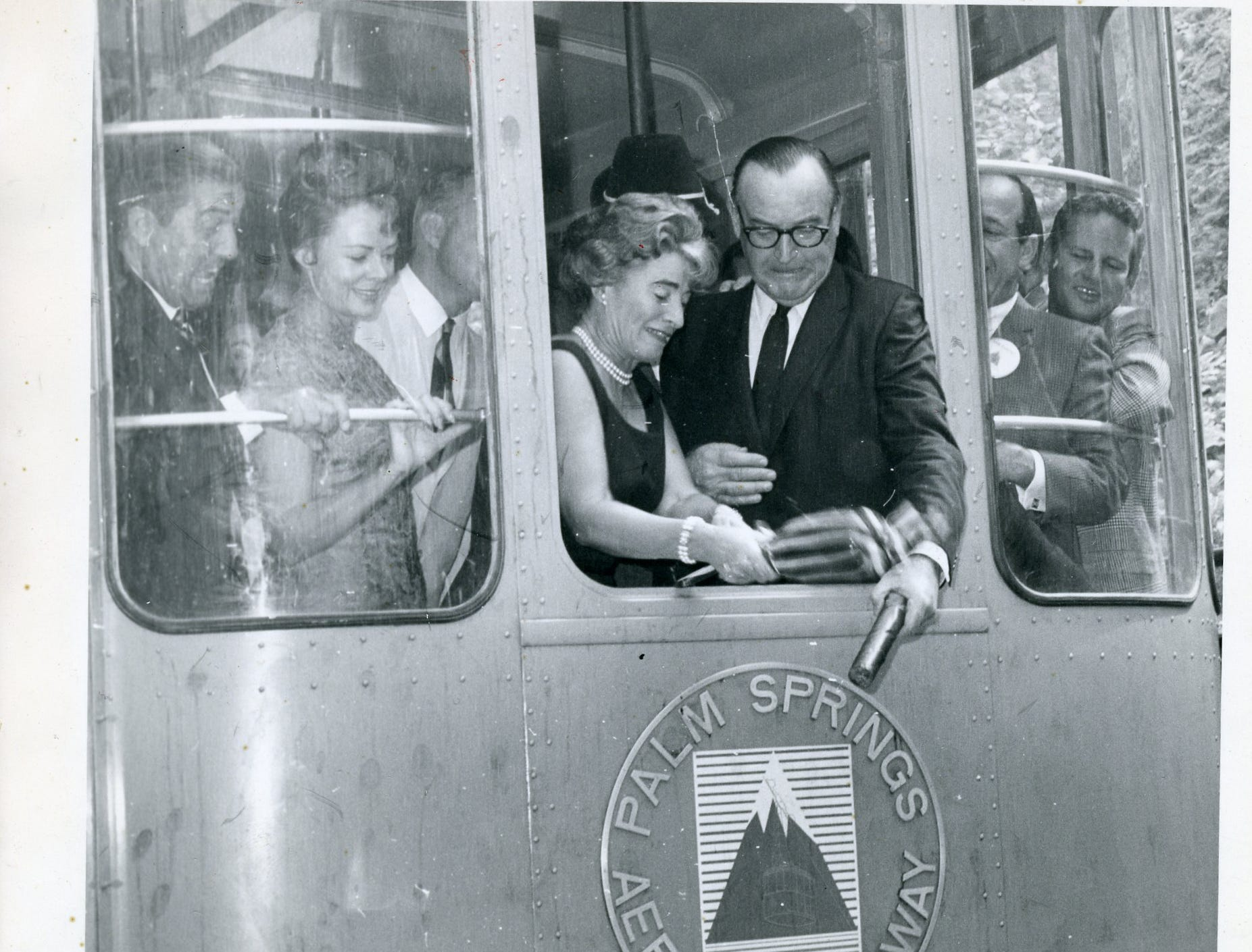 This photo shows the dedication of the Palm Springs Aerial Tram.