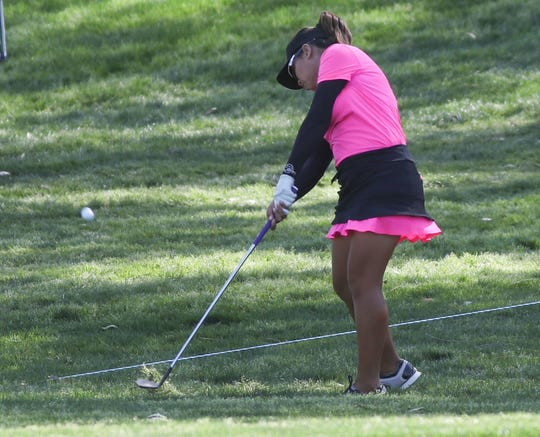 Thidapa Suwannapura hits a shot out of the rough on the 9th hole at the ANA Inspiration at Mission Hills Country Club in Rancho Mirage, April 4, 2019.