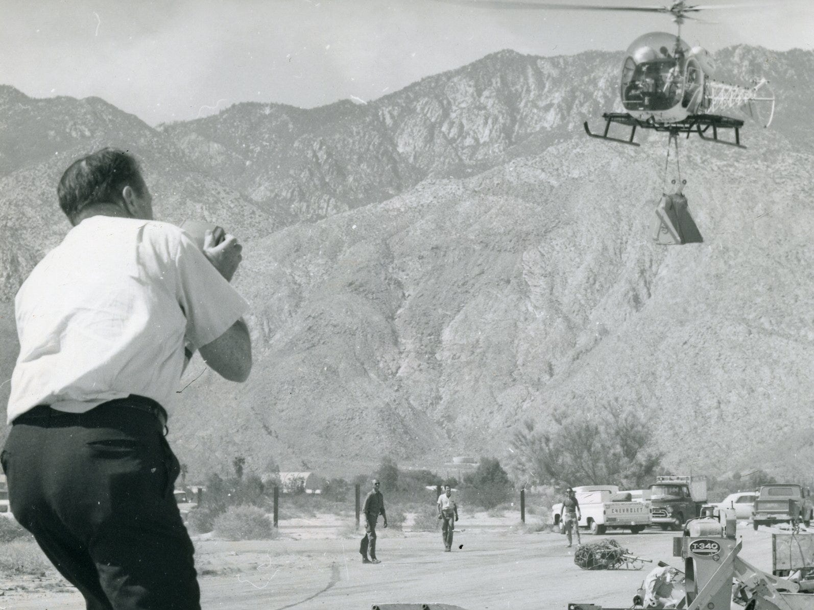 Supplies to build the tram station were brought in by helicopter in this undated Palm Springs Aerial Tram photo.