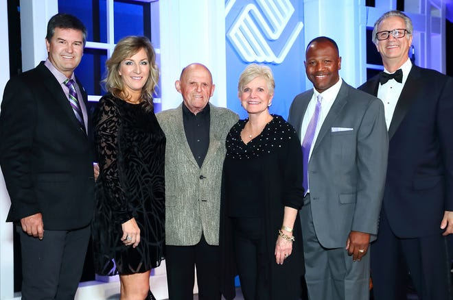 John Powell, Jr., board chair,Sandy Taylor, auction chair, Bob Lurie and Connie Lurie, Champions of Youth, Quinton Egson, CEO Boys & Girls Clubs of Coachella Valley, Brian Harnik, auction host and board member.