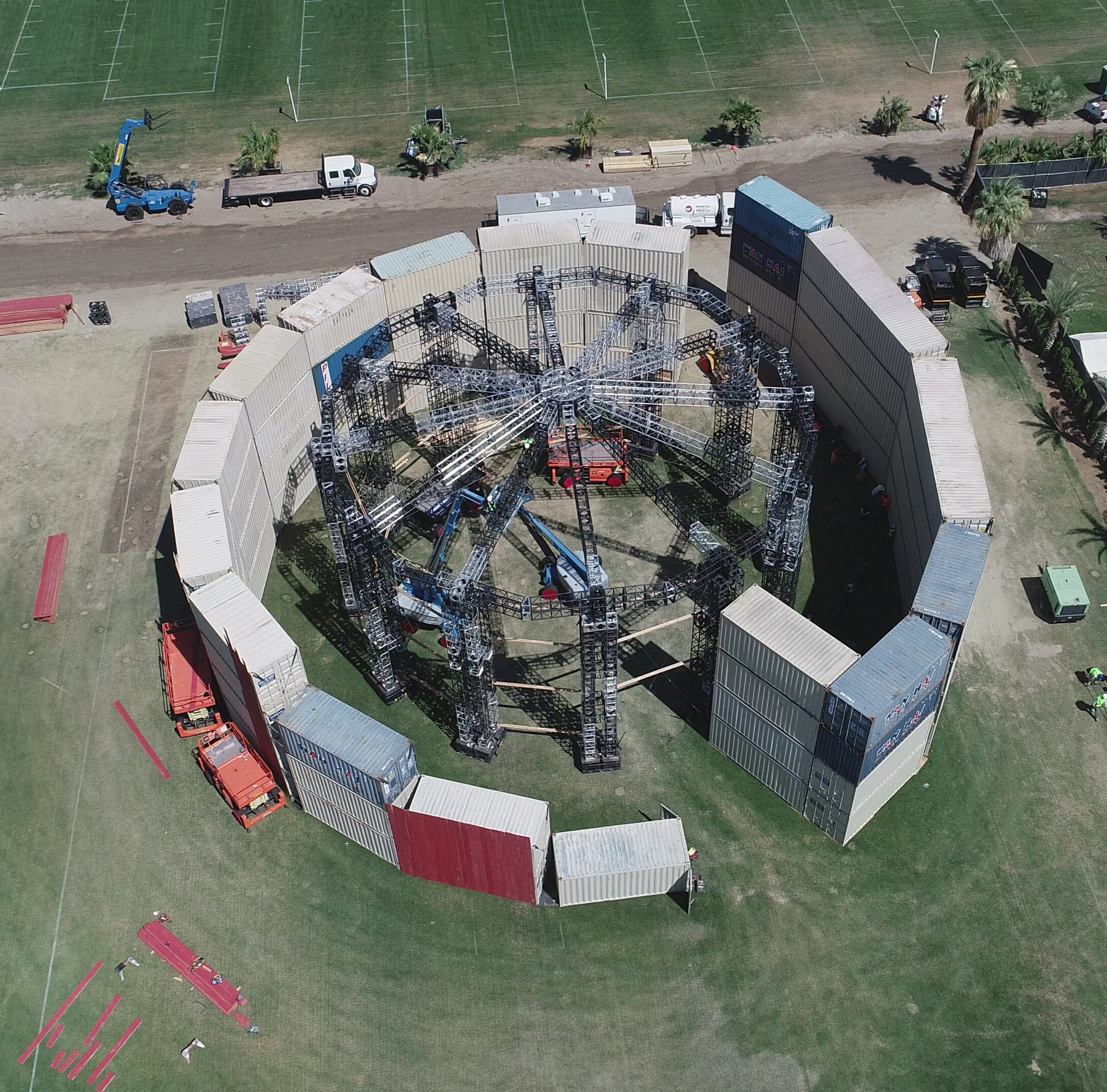 Drone footage of mysterious Coachella structure: Could this be Kanye's stage?