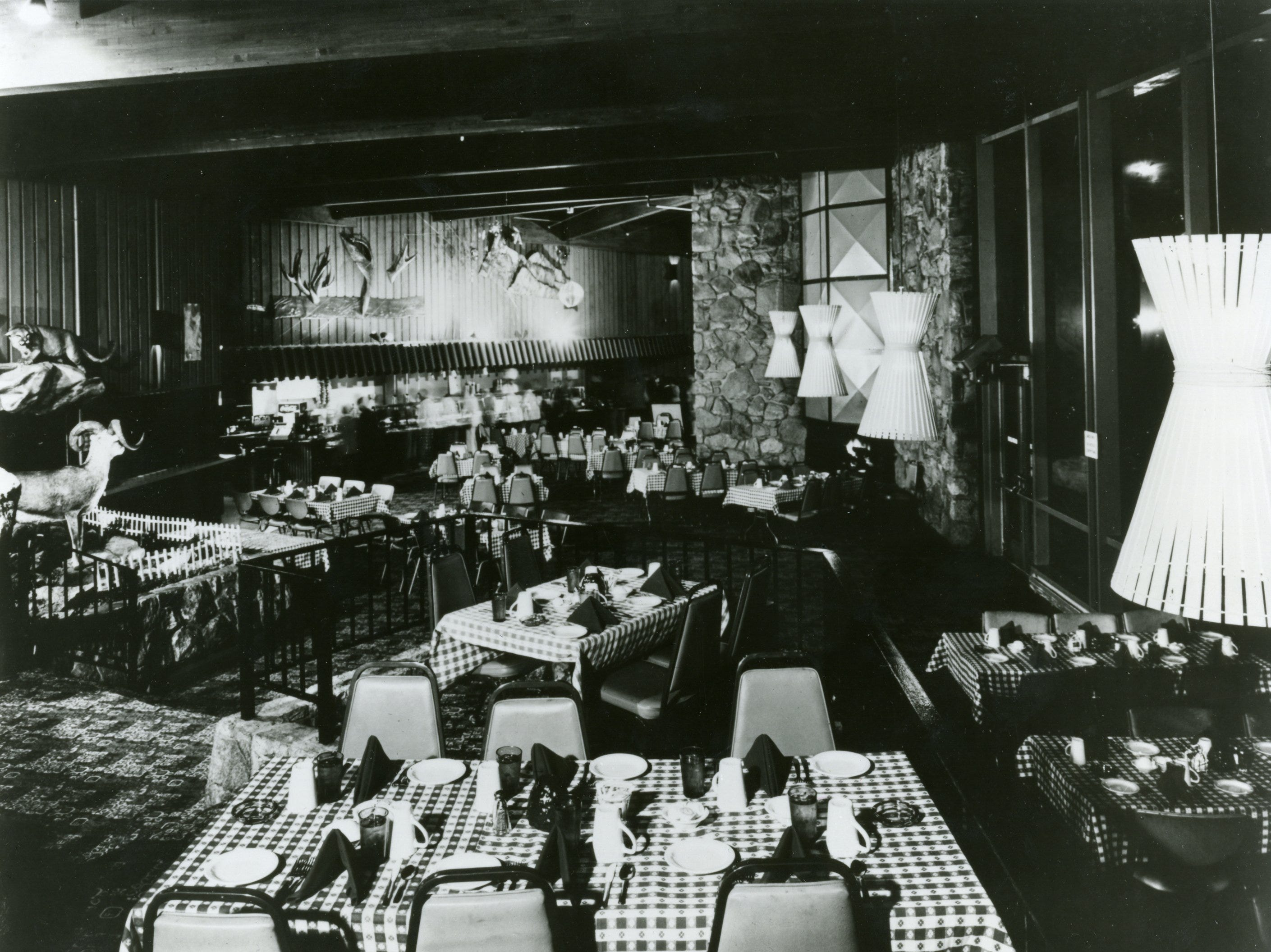 This undated photo shows the original dining room at the Tram Mountain station.