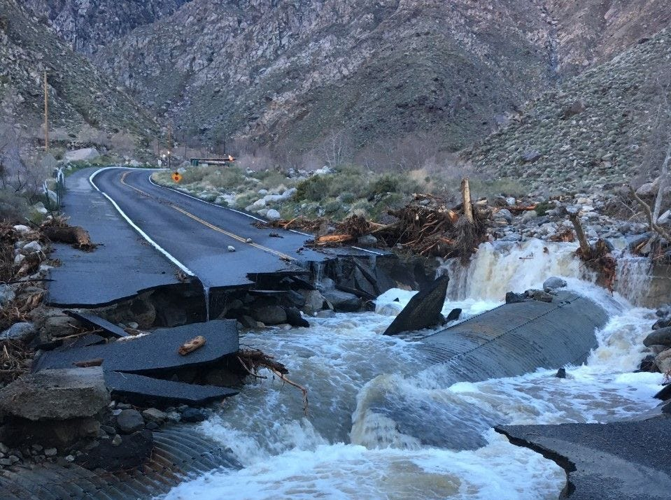 Tramway Road was destroyed during a Feb. 14, 2019 rainstorm. It forced the Palm Springs Aerial Tramway to shut down for more than a month.
