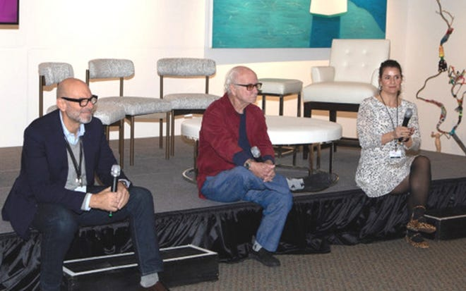 From left: Peter Blake, owner of the Peter Blake Gallery, artist Joe Goode, and show director Leah Steinhardt